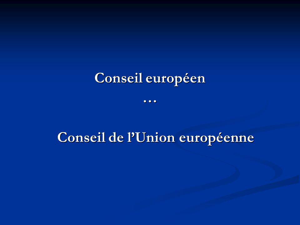 Conseil européen … Conseil de lUnion européenne