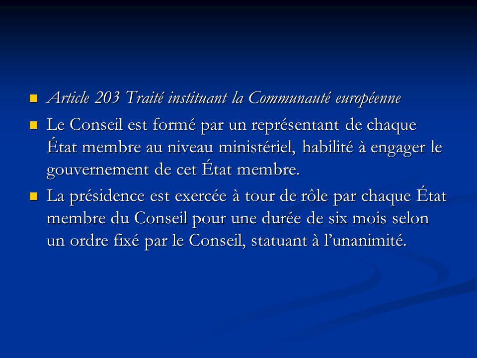 Article 203 Traité instituant la Communauté européenne Article 203 Traité instituant la Communauté européenne Le Conseil est formé par un représentant