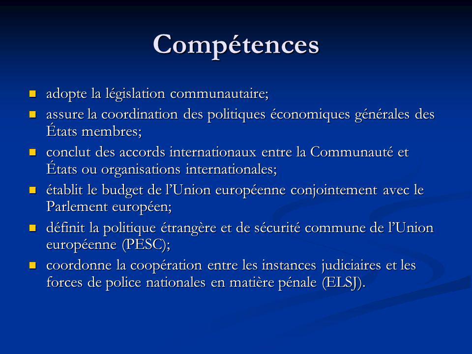Compétences adopte la législation communautaire; adopte la législation communautaire; assure la coordination des politiques économiques générales des