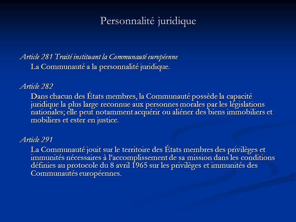 Personnalité juridique Article 281 Traité instituant la Communauté européenne La Communauté a la personnalité juridique. Article 282 Dans chacun des É