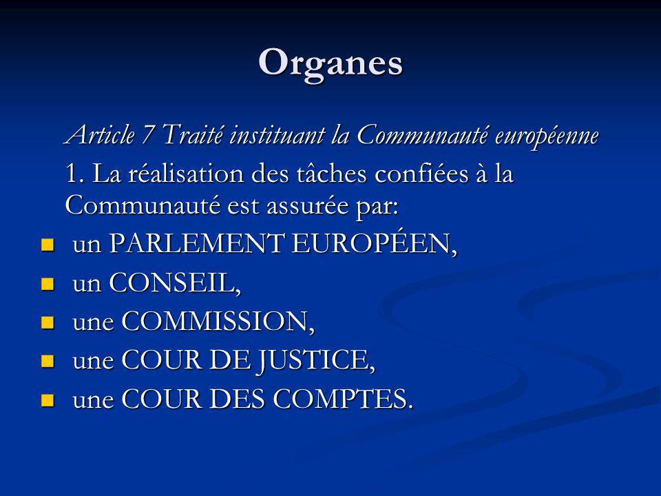 Organes Article 7 Traité instituant la Communauté européenne 1. La réalisation des tâches confiées à la Communauté est assurée par: un PARLEMENT EUROP