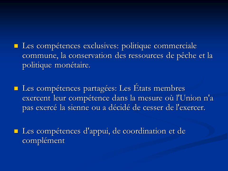 Les compétences exclusives: politique commerciale commune, la conservation des ressources de pêche et la politique monétaire. Les compétences exclusiv
