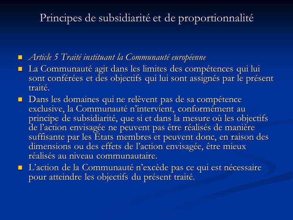 Principes de subsidiarité et de proportionnalité Article 5 Traité instituant la Communauté européenne Article 5 Traité instituant la Communauté europé