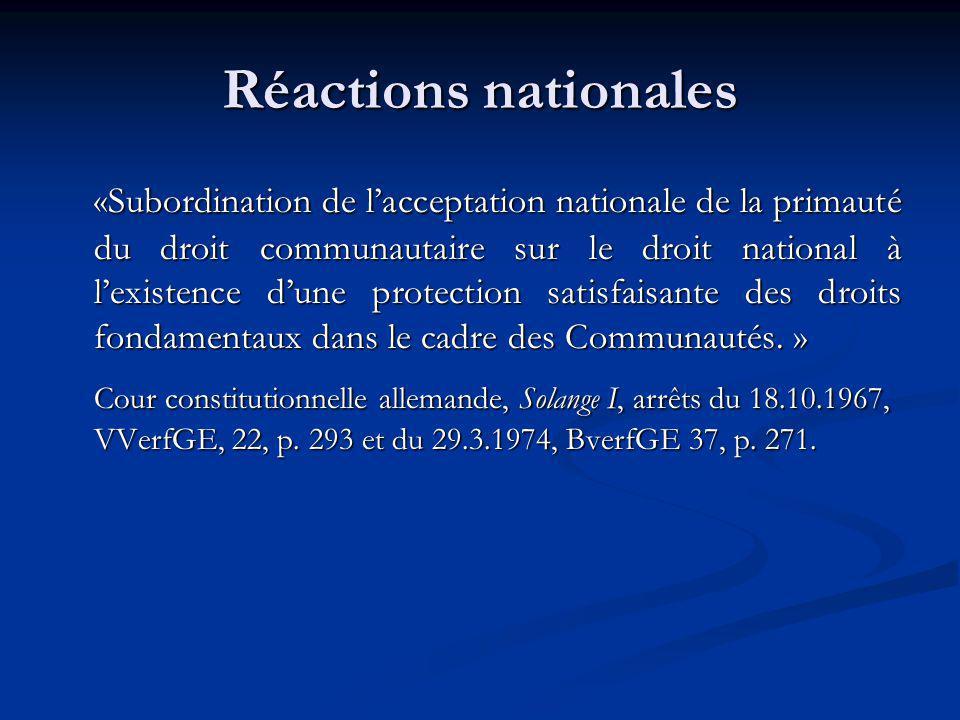 Réactions nationales «Subordination de lacceptation nationale de la primauté du droit communautaire sur le droit national à lexistence dune protection