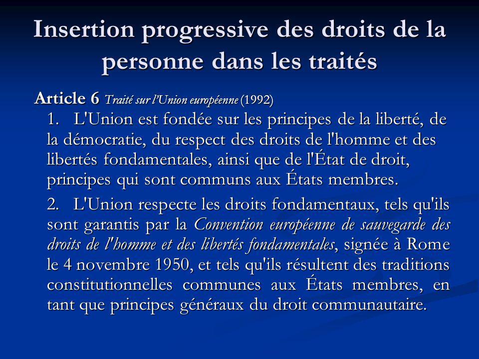 Insertion progressive des droits de la personne dans les traités Article 6 Traité sur lUnion européenne (1992) 1. L'Union est fondée sur les principes