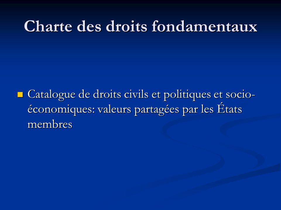 Charte des droits fondamentaux Catalogue de droits civils et politiques et socio- économiques: valeurs partagées par les États membres Catalogue de dr