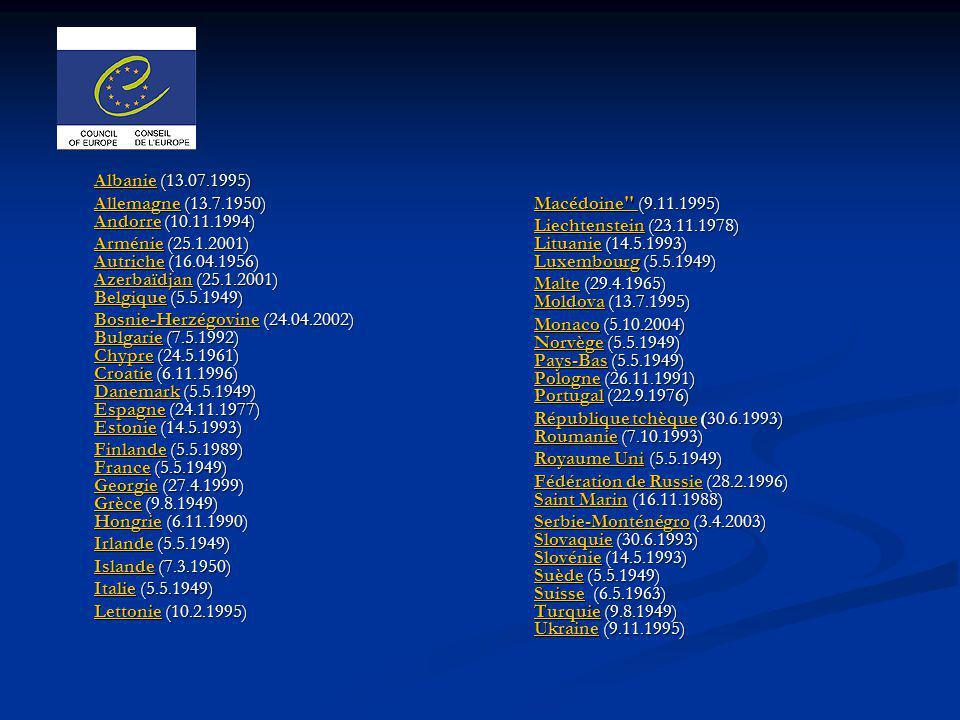 AlbanieAlbanie (13.07.1995) Albanie AllemagneAllemagne (13.7.1950) Andorre (10.11.1994) Andorre Allemagne Andorre ArménieArménie (25.1.2001) Autriche