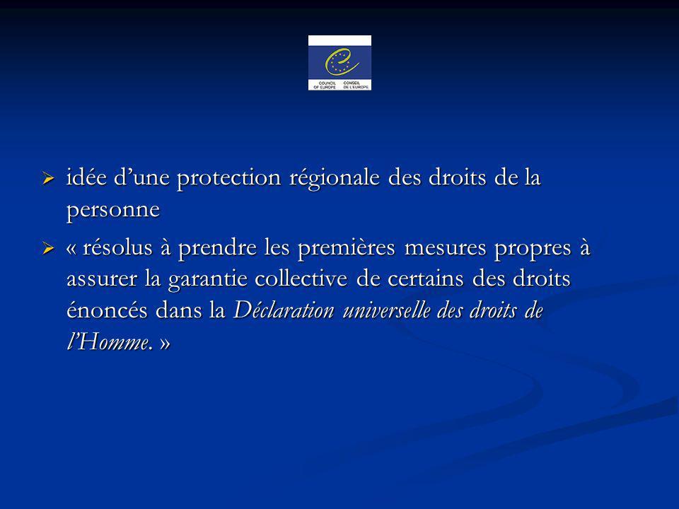 idée dune protection régionale des droits de la personne idée dune protection régionale des droits de la personne « résolus à prendre les premières me
