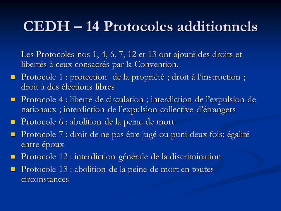 CEDH – 14 Protocoles additionnels Les Protocoles nos 1, 4, 6, 7, 12 et 13 ont ajouté des droits et libertés à ceux consacrés par la Convention. Protoc