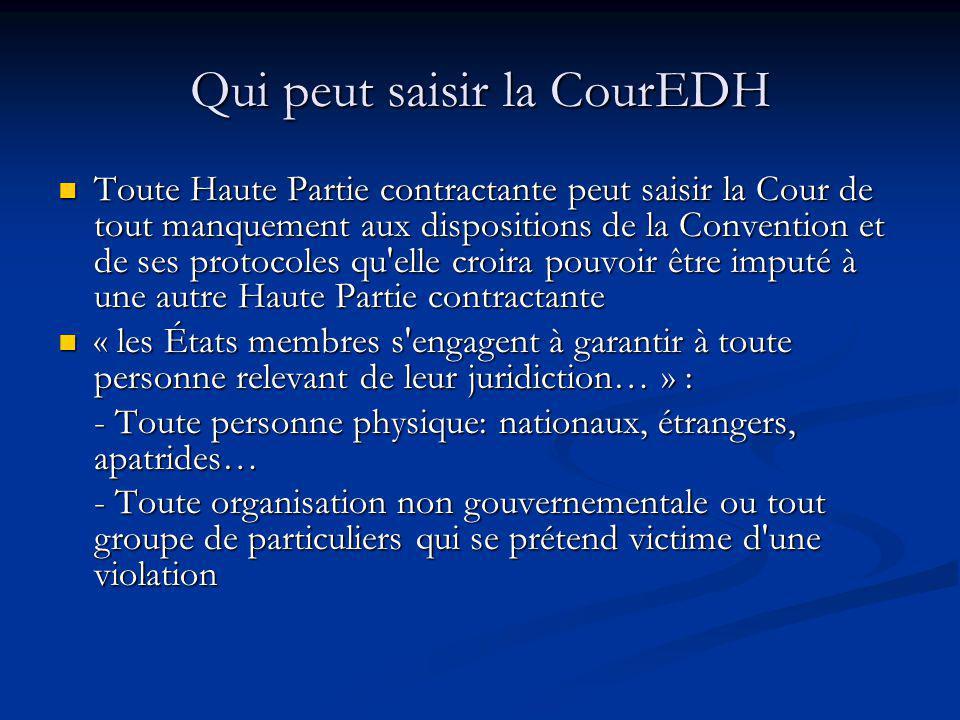 Qui peut saisir la CourEDH Toute Haute Partie contractante peut saisir la Cour de tout manquement aux dispositions de la Convention et de ses protocol