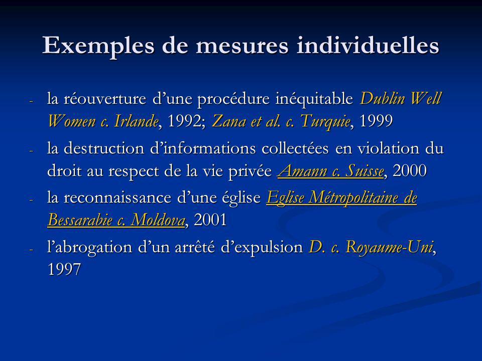 Exemples de mesures individuelles - la réouverture dune procédure inéquitable Dublin Well Women c. Irlande, 1992; Zana et al. c. Turquie, 1999 - la de
