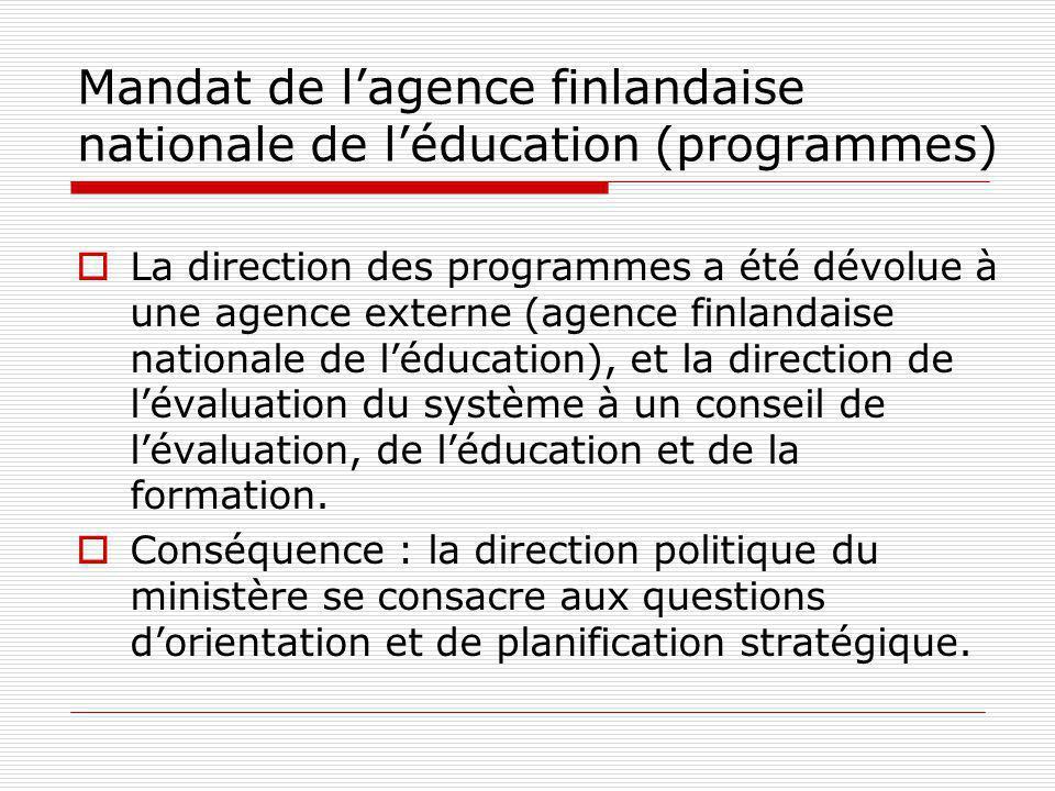 Mandat de lagence finlandaise nationale de léducation (programmes) La direction des programmes a été dévolue à une agence externe (agence finlandaise nationale de léducation), et la direction de lévaluation du système à un conseil de lévaluation, de léducation et de la formation.