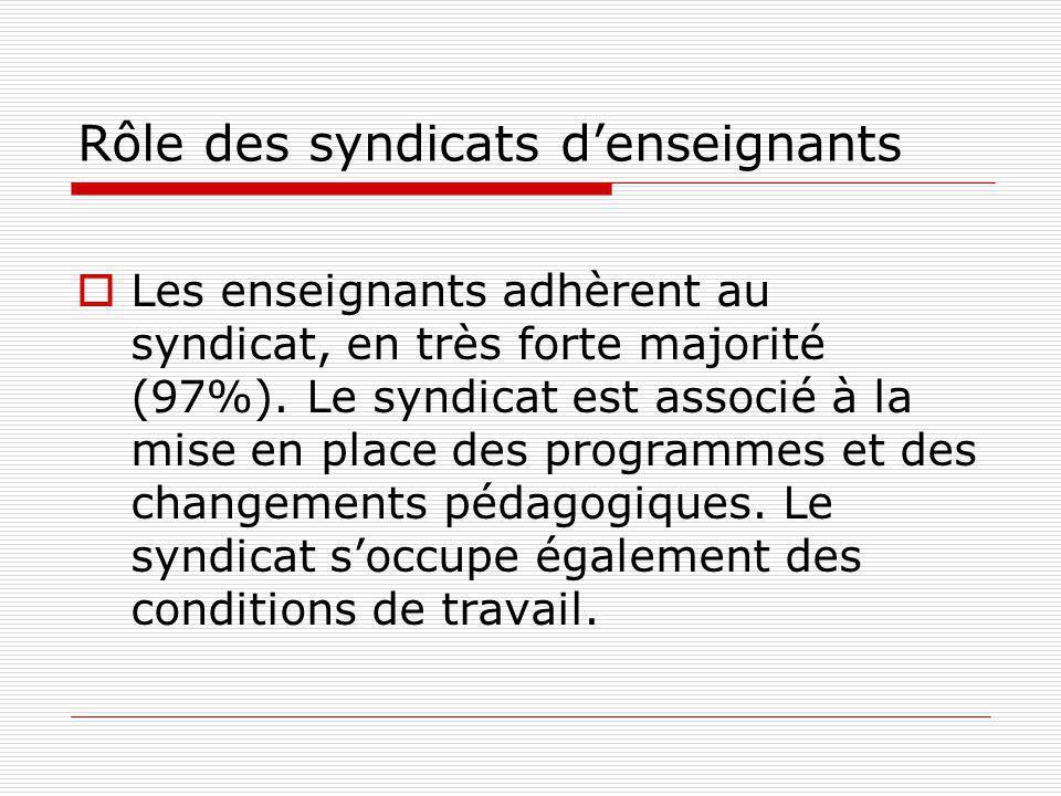 Rôle des syndicats denseignants Les enseignants adhèrent au syndicat, en très forte majorité (97%).