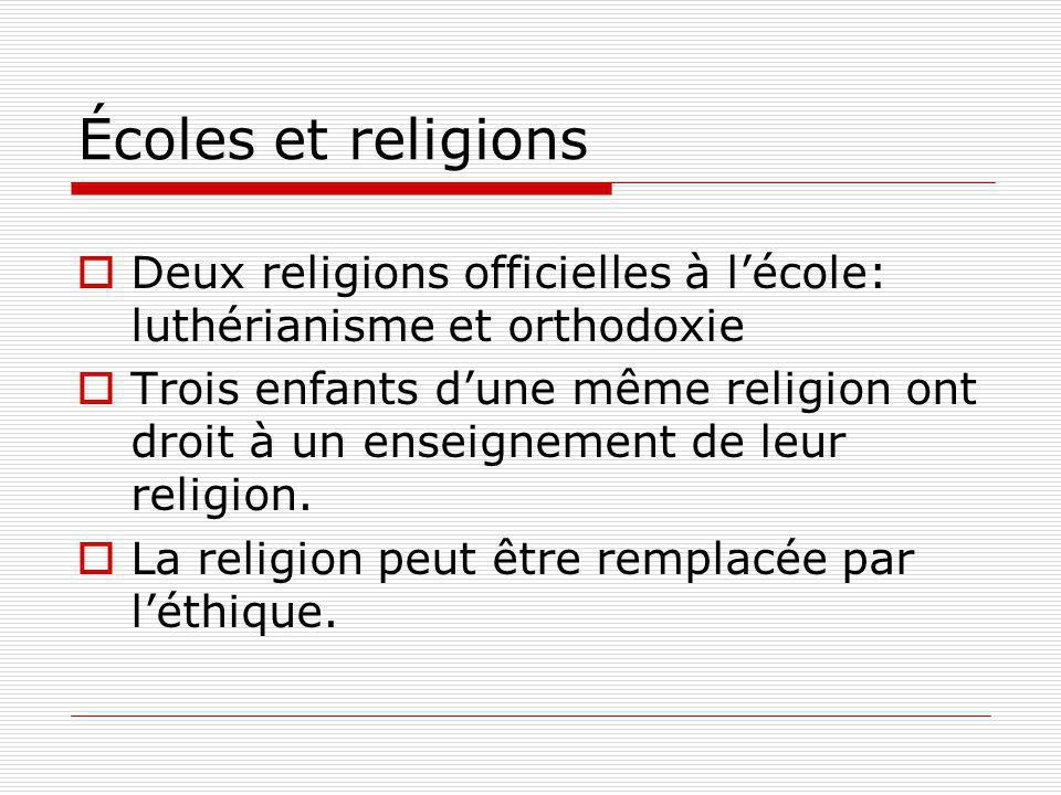 Écoles et religions Deux religions officielles à lécole: luthérianisme et orthodoxie Trois enfants dune même religion ont droit à un enseignement de leur religion.