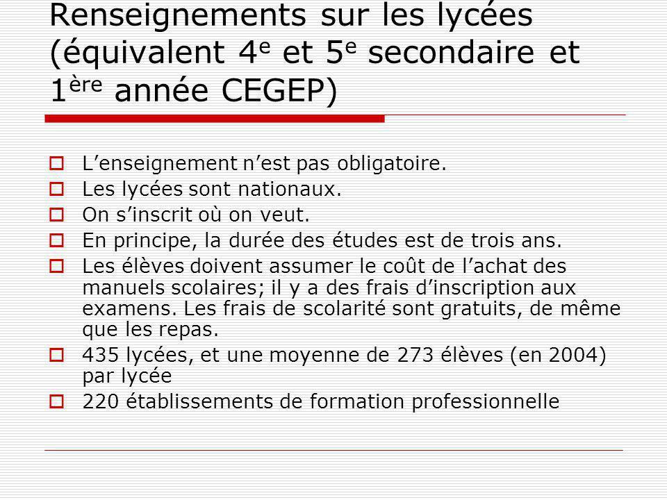 Renseignements sur les lycées (équivalent 4 e et 5 e secondaire et 1 ère année CEGEP) Lenseignement nest pas obligatoire.