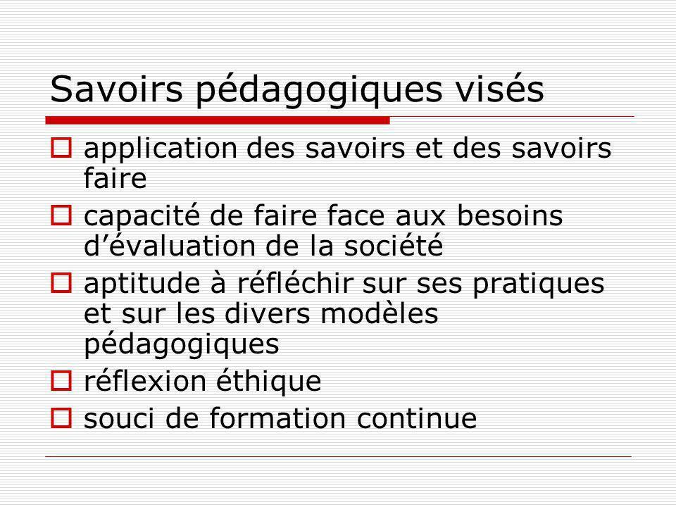 Savoirs pédagogiques visés application des savoirs et des savoirs faire capacité de faire face aux besoins dévaluation de la société aptitude à réfléchir sur ses pratiques et sur les divers modèles pédagogiques réflexion éthique souci de formation continue