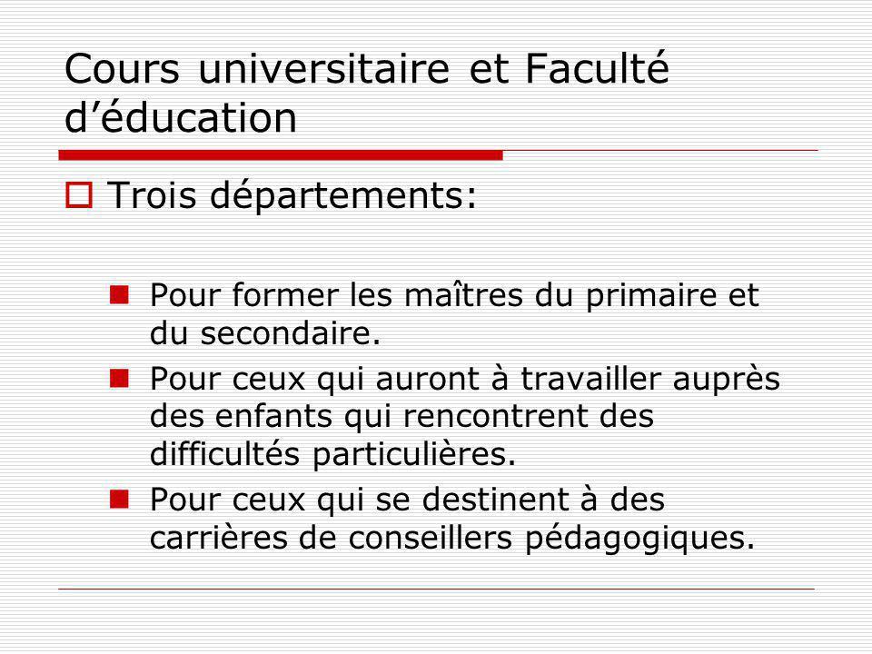 Cours universitaire et Faculté déducation Trois départements: Pour former les maîtres du primaire et du secondaire.