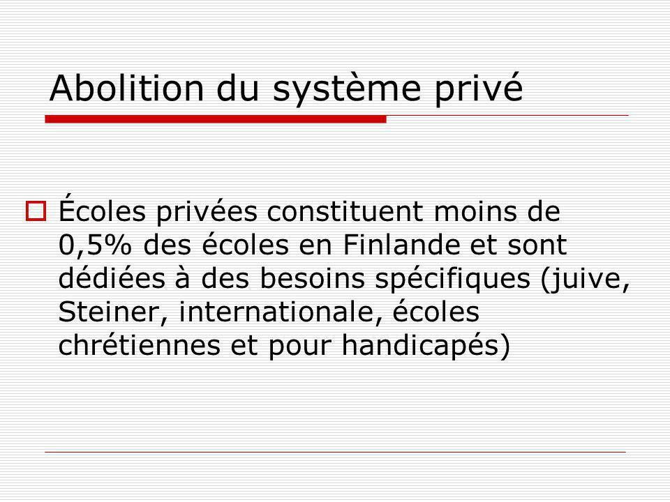 Abolition du système privé Écoles privées constituent moins de 0,5% des écoles en Finlande et sont dédiées à des besoins spécifiques (juive, Steiner, internationale, écoles chrétiennes et pour handicapés)