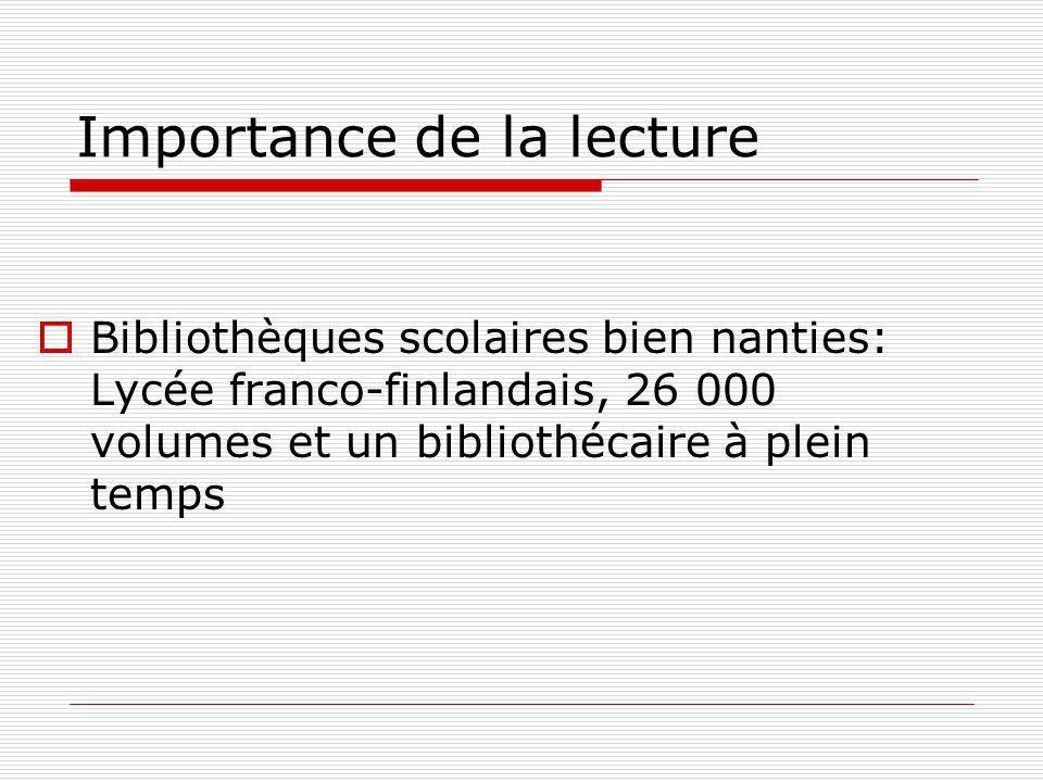 Importance de la lecture Bibliothèques scolaires bien nanties: Lycée franco-finlandais, 26 000 volumes et un bibliothécaire à plein temps
