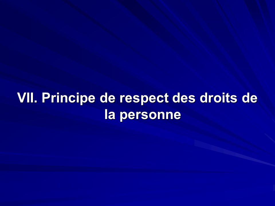 VII. Principe de respect des droits de la personne