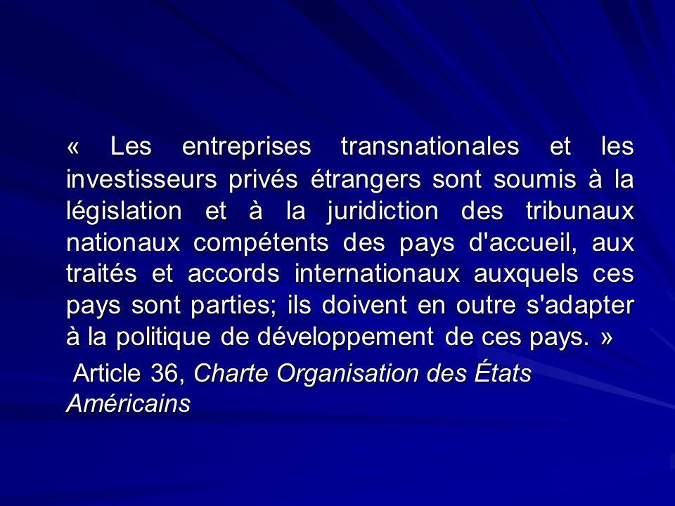« Les entreprises transnationales et les investisseurs privés étrangers sont soumis à la législation et à la juridiction des tribunaux nationaux compé