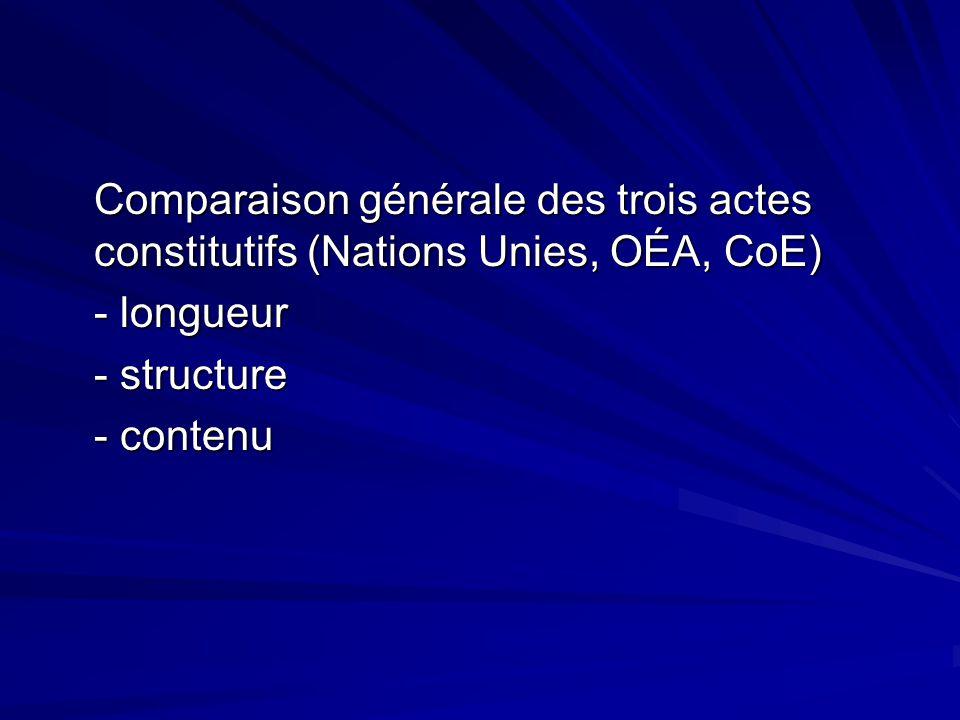 Comparaison générale des trois actes constitutifs (Nations Unies, OÉA, CoE) - longueur - longueur - structure - contenu - contenu