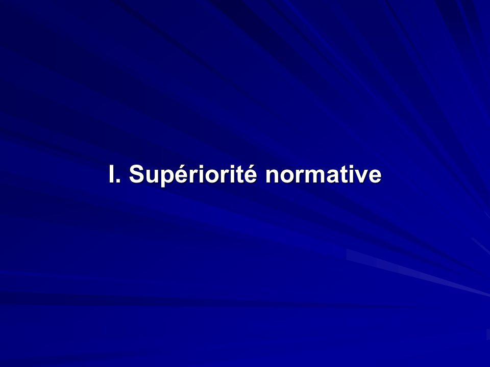 I. Supériorité normative