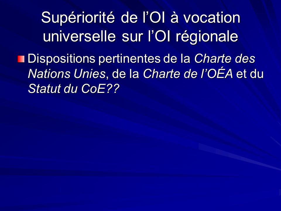 Supériorité de lOI à vocation universelle sur lOI régionale Dispositions pertinentes de la Charte des Nations Unies, de la Charte de lOÉA et du Statut du CoE