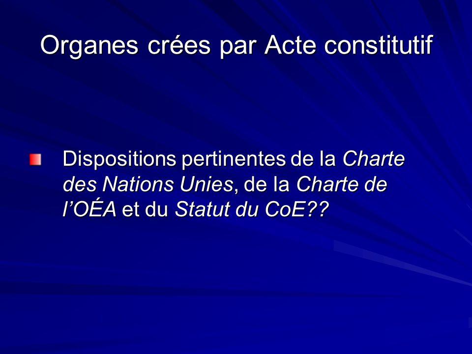 Organes crées par Acte constitutif Dispositions pertinentes de la Charte des Nations Unies, de la Charte de lOÉA et du Statut du CoE