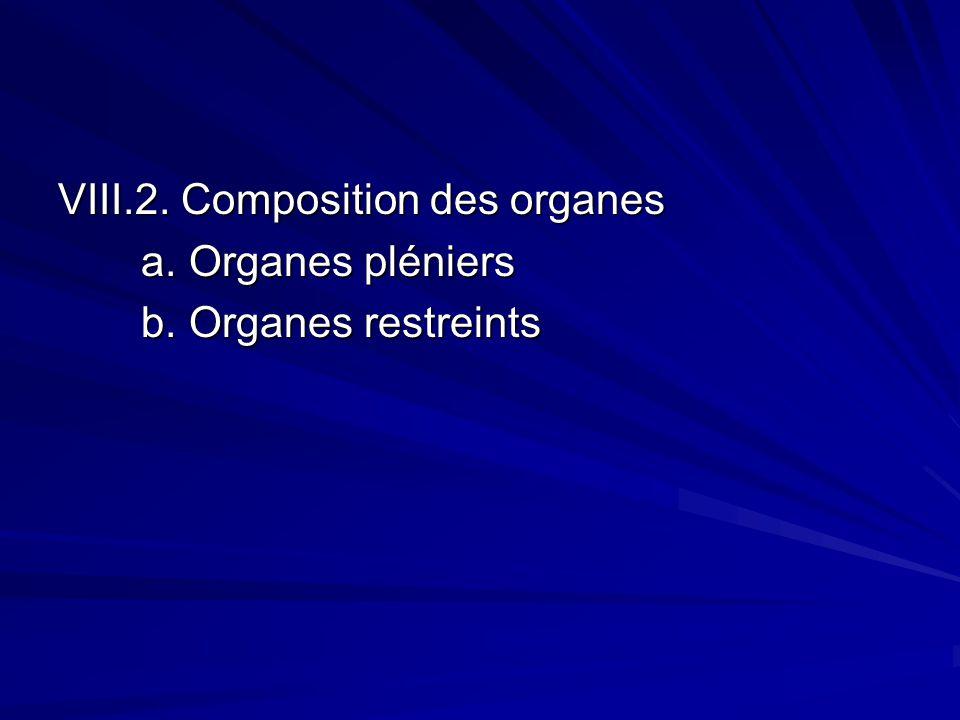 VIII.2. Composition des organes a. Organes pléniers a.