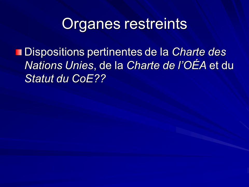 Organes restreints Dispositions pertinentes de la Charte des Nations Unies, de la Charte de lOÉA et du Statut du CoE