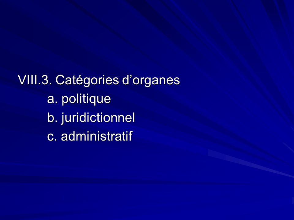 VIII.3. Catégories dorganes a. politique b. juridictionnel c. administratif