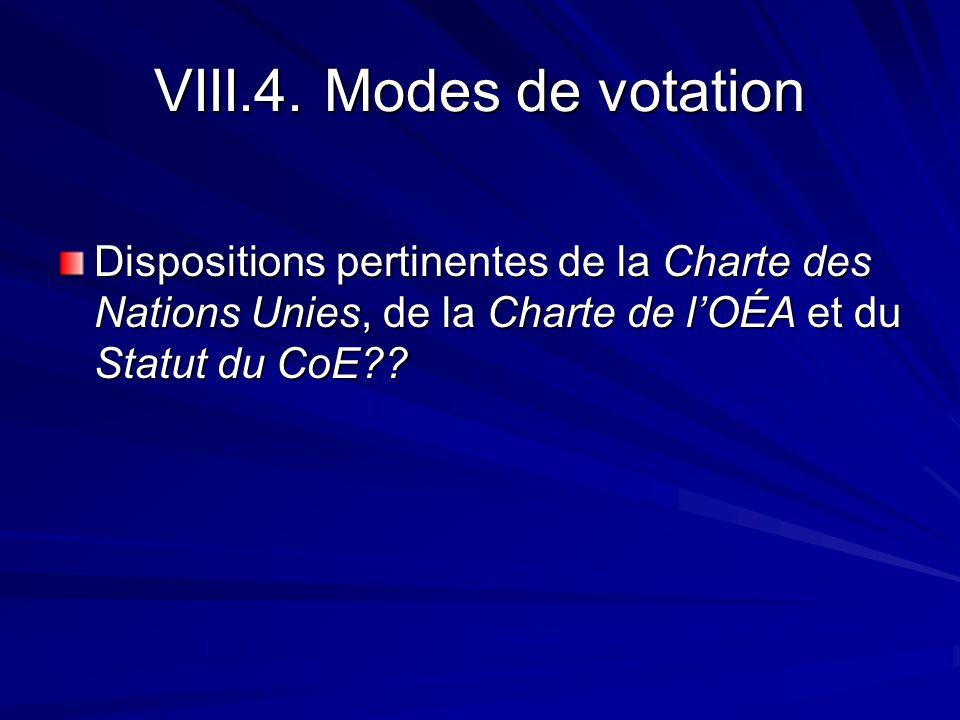 VIII.4. Modes de votation Dispositions pertinentes de la Charte des Nations Unies, de la Charte de lOÉA et du Statut du CoE??