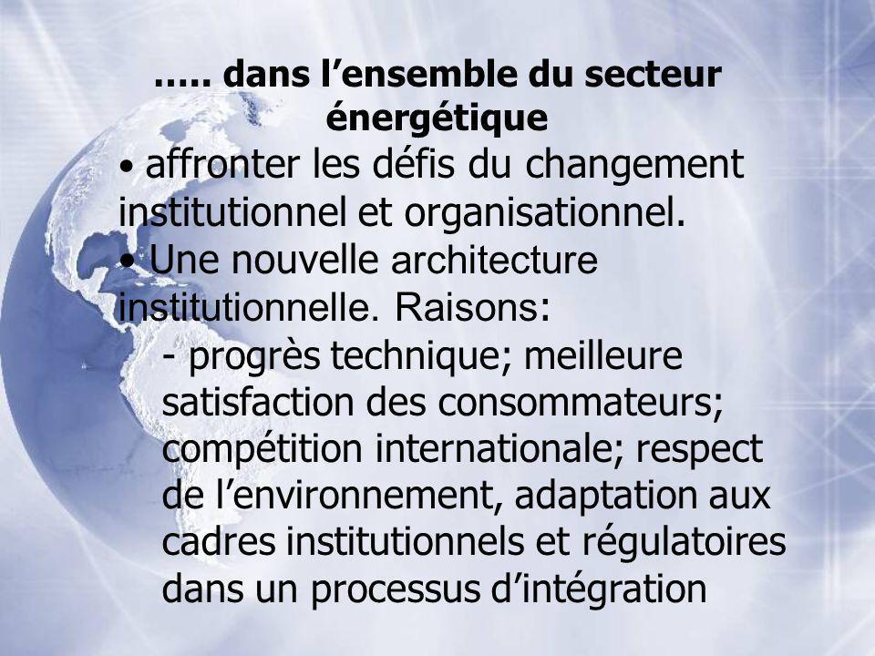 ….. dans lensemble du secteur énergétique affronter les défis du changement institutionnel et organisationnel. Une nouvelle architecture institutionne