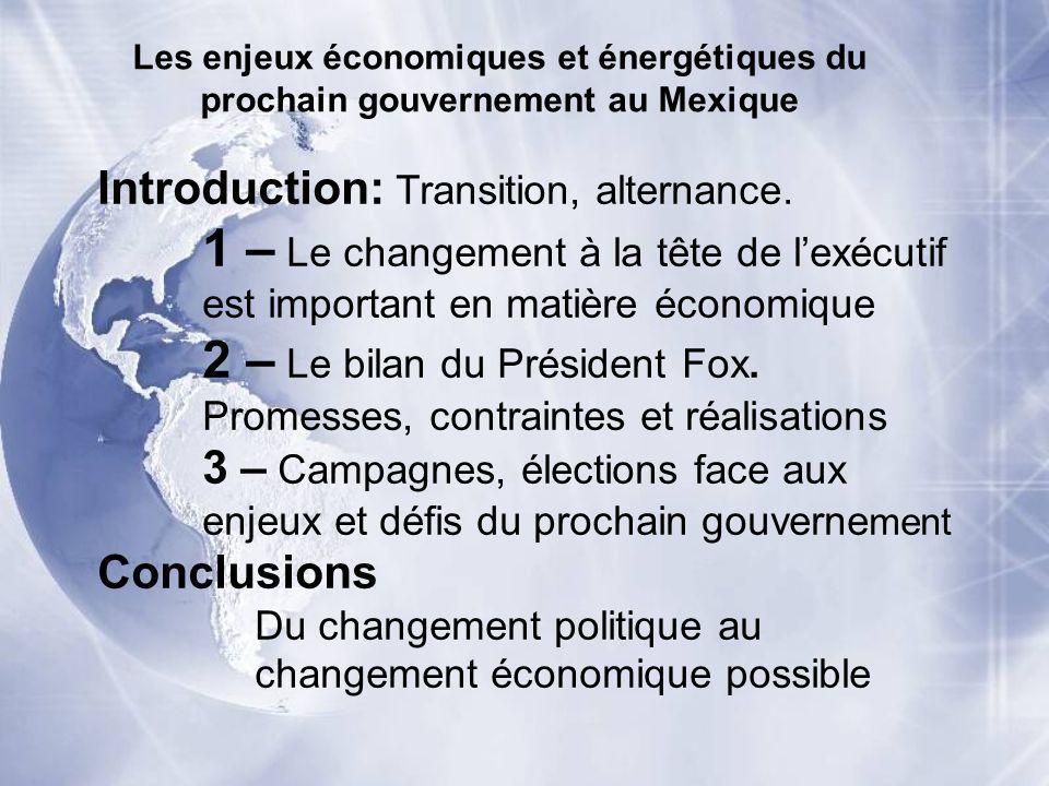 Les enjeux économiques et énergétiques du prochain gouvernement au Mexique Introduction: Transition, alternance. 1 – Le changement à la tête de lexécu