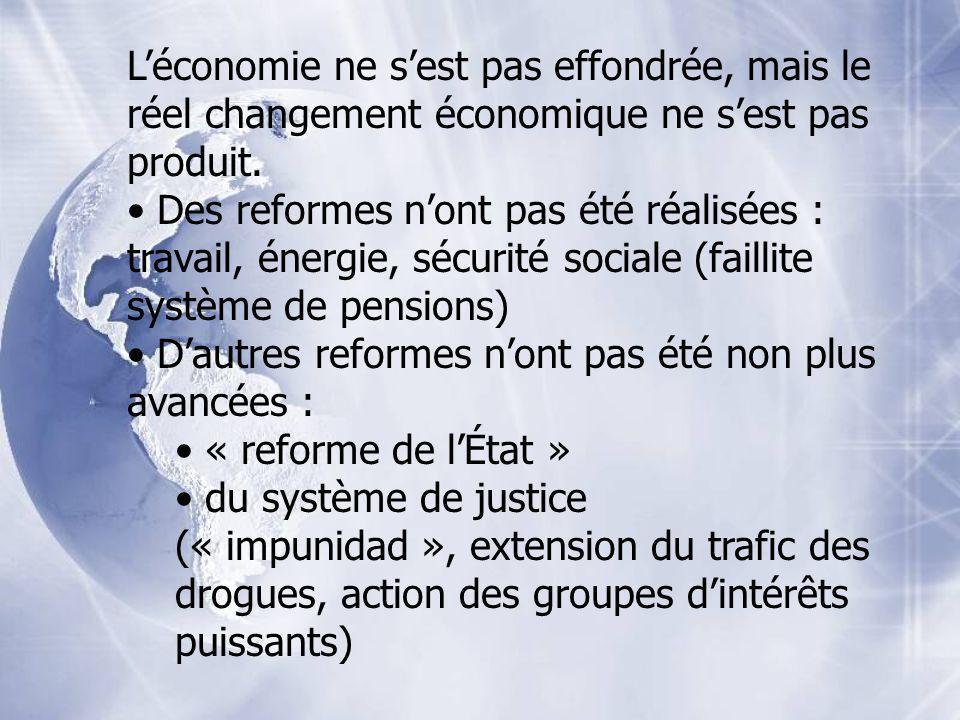 Léconomie ne sest pas effondrée, mais le réel changement économique ne sest pas produit. Des reformes nont pas été réalisées : travail, énergie, sécur