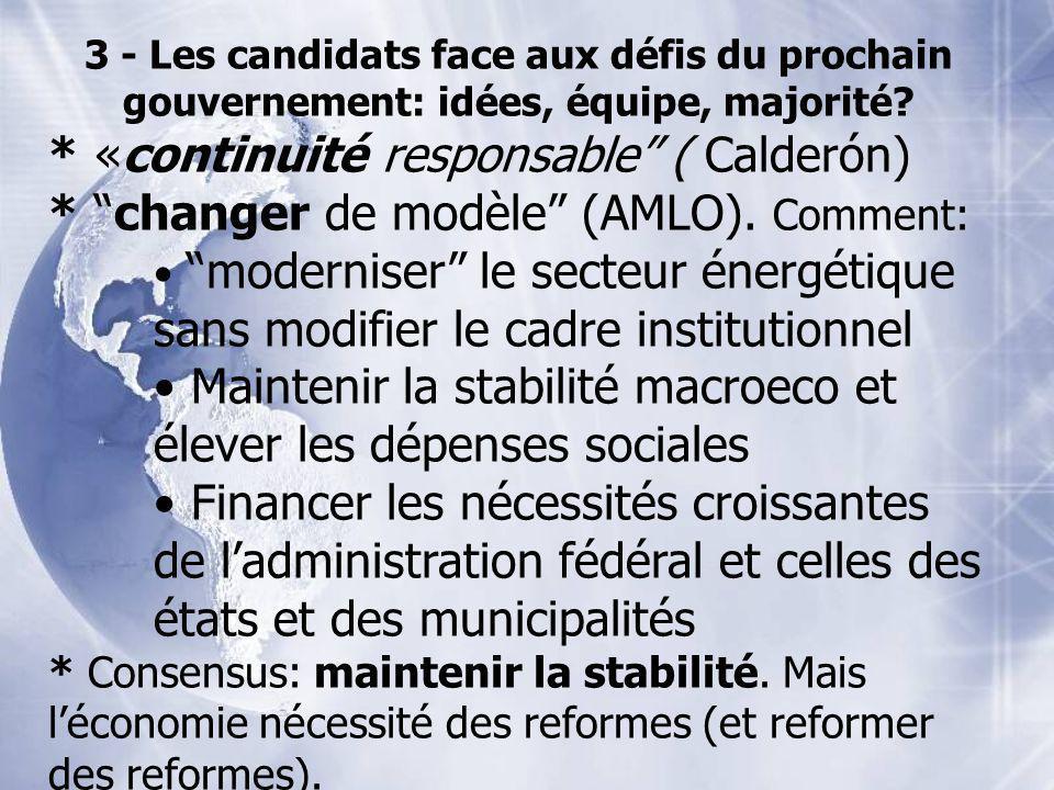 3 - Les candidats face aux défis du prochain gouvernement: idées, équipe, majorité? * «continuité responsable ( Calderón) * changer de modèle (AMLO).