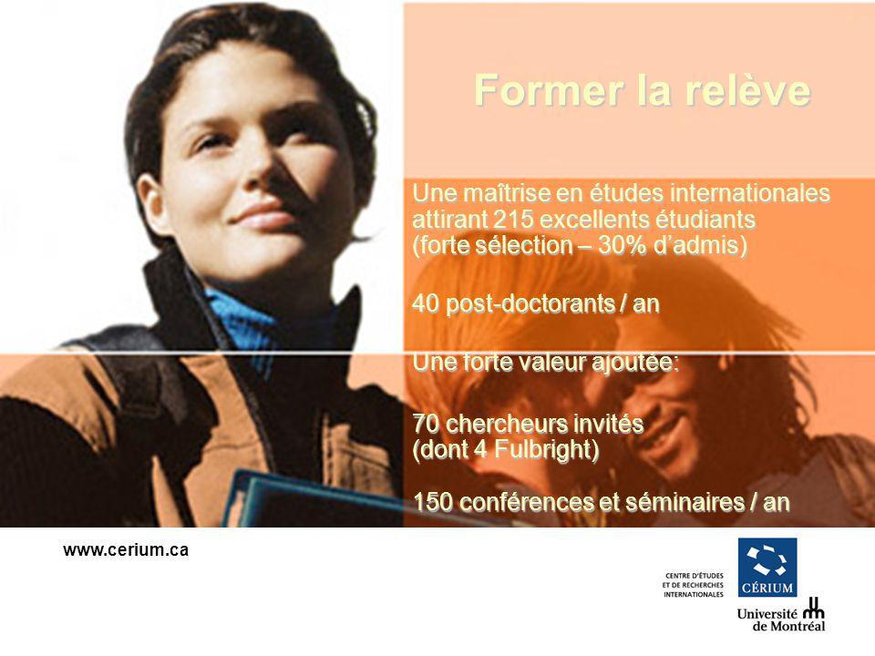 www.cerium.ca Former la relève Une maîtrise en études internationales attirant 215 excellents étudiants (forte sélection – 30% dadmis) 40 post-doctorants / an Une forte valeur ajoutée: 70 chercheurs invités (dont 4 Fulbright) 150 conférences et séminaires / an