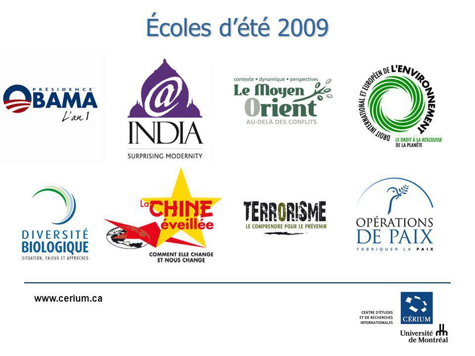 www.cerium.ca Écoles dété 2009