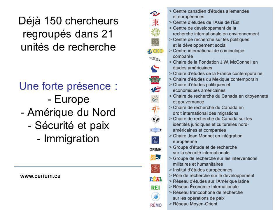 www.cerium.ca Déjà 150 chercheurs regroupés dans 21 unités de recherche Une forte présence : - Europe - Amérique du Nord - Sécurité et paix - Immigration