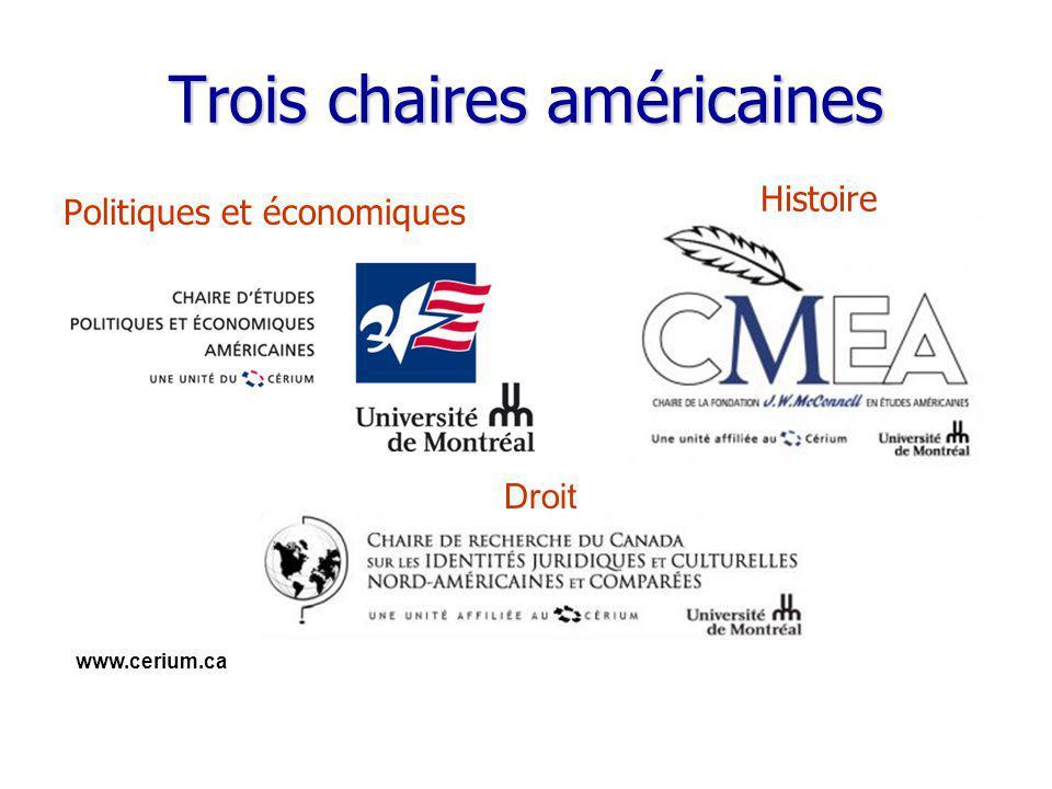 www.cerium.ca Trois chaires américaines Politiques et économiques Histoire Droit