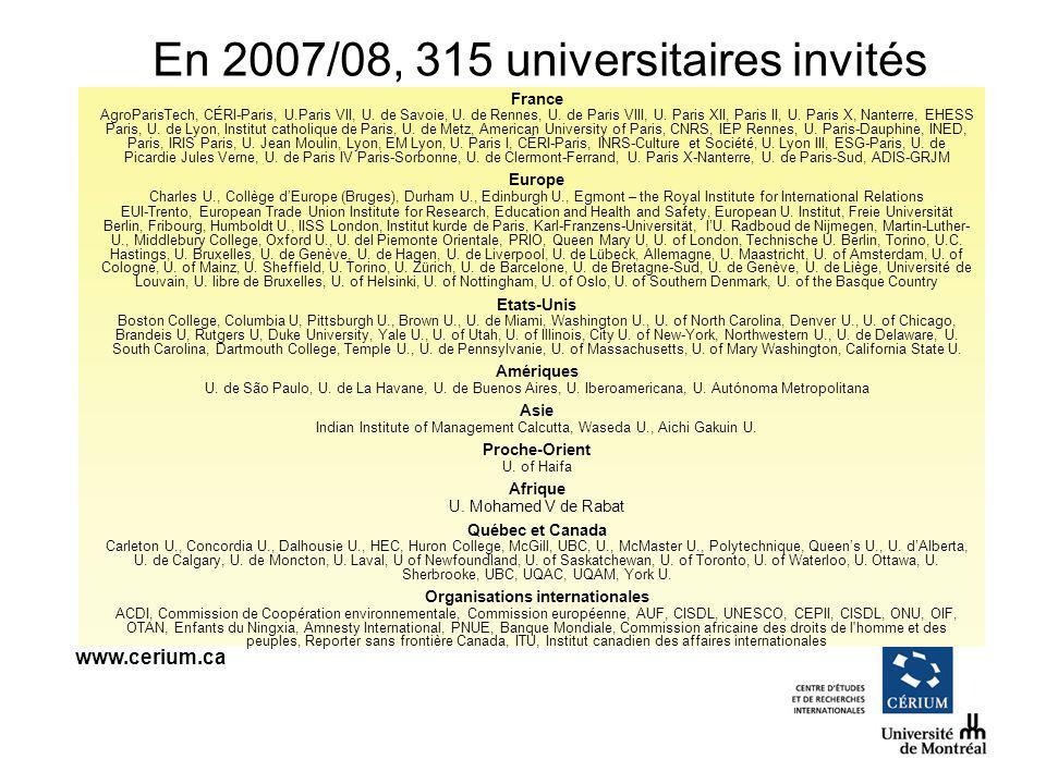 www.cerium.ca France AgroParisTech, CÉRI-Paris, U.Paris VII, U. de Savoie, U. de Rennes, U. de Paris VIII, U. Paris XII, Paris II, U. Paris X, Nanterr