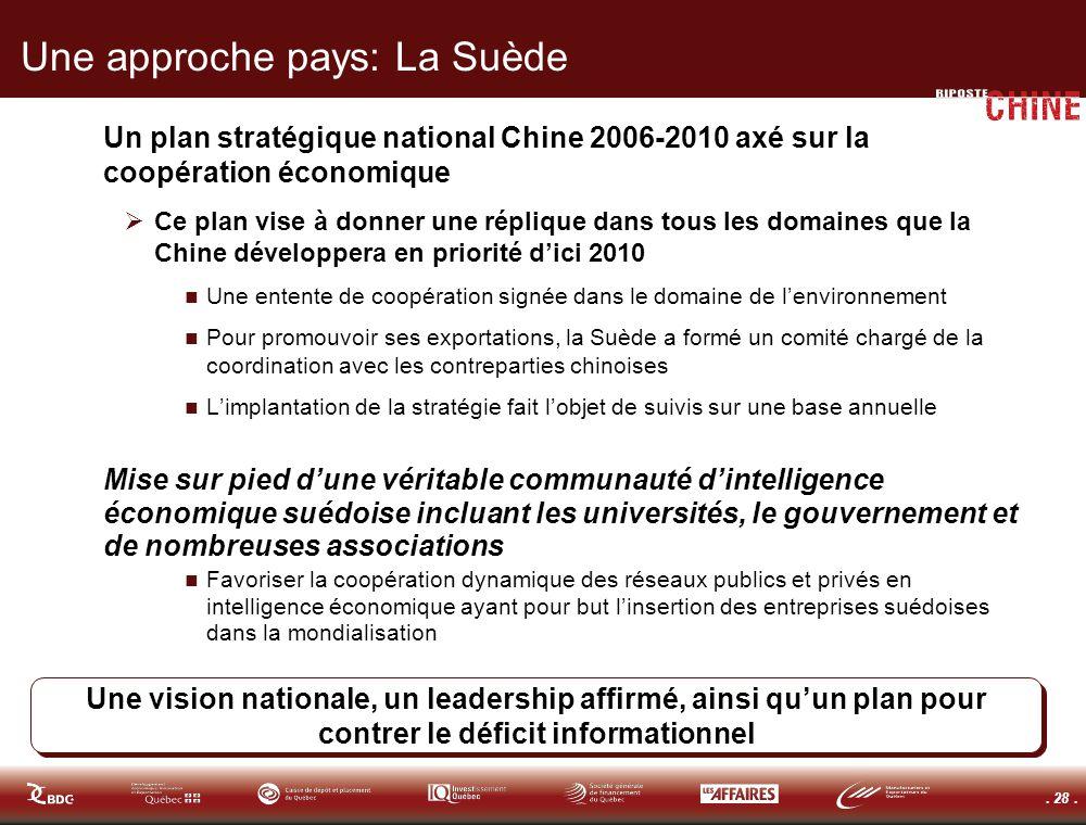 . 28. Une approche pays: La Suède Un plan stratégique national Chine 2006-2010 axé sur la coopération économique Ce plan vise à donner une réplique da