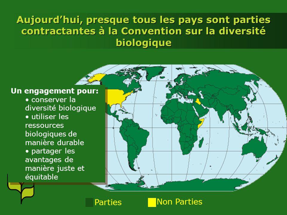 Parties Non Parties Aujourdhui, presque tous les pays sont parties contractantes à la Convention sur la diversité biologique Un engagement pour: conse