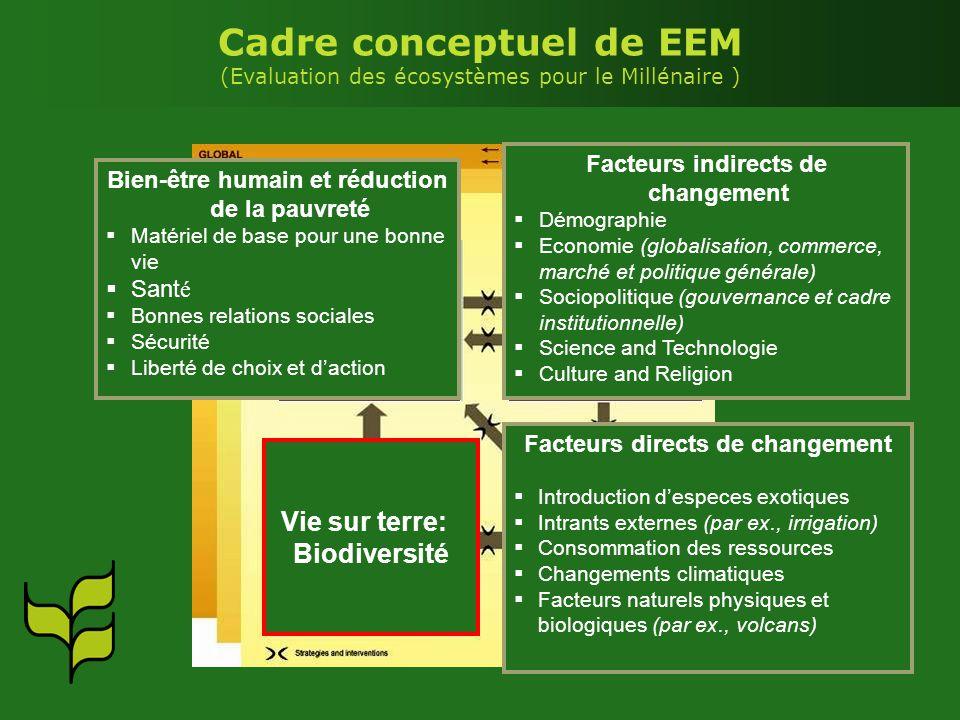 Facteurs directs Facteurs indirects Services des écosystèmes Bien-être humain Cadre conceptuel de EEM (Evaluation des écosystèmes pour le Millénaire )