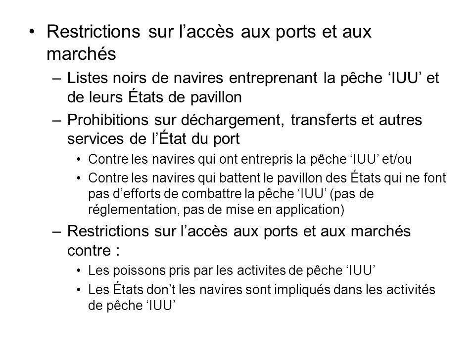 Restrictions sur laccès aux ports et aux marchés –Listes noirs de navires entreprenant la pêche IUU et de leurs États de pavillon –Prohibitions sur dé
