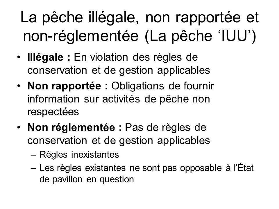 La pêche illégale, non rapportée et non-réglementée (La pêche IUU) Illégale : En violation des règles de conservation et de gestion applicables Non ra