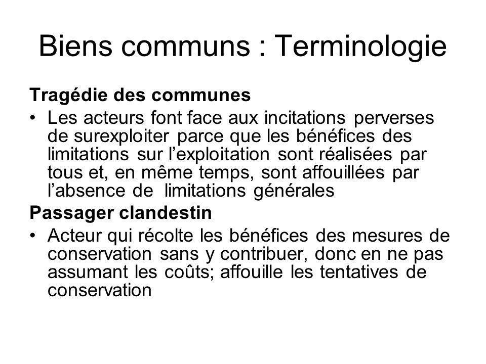 Biens communs : Terminologie Tragédie des communes Les acteurs font face aux incitations perverses de surexploiter parce que les bénéfices des limitat