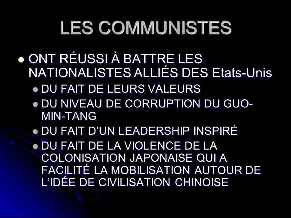 LES COMMUNISTES ONT RÉUSSI À BATTRE LES NATIONALISTES ALLIÉS DES Etats-Unis ONT RÉUSSI À BATTRE LES NATIONALISTES ALLIÉS DES Etats-Unis DU FAIT DE LEURS VALEURS DU FAIT DE LEURS VALEURS DU NIVEAU DE CORRUPTION DU GUO- MIN-TANG DU NIVEAU DE CORRUPTION DU GUO- MIN-TANG DU FAIT DUN LEADERSHIP INSPIRÉ DU FAIT DUN LEADERSHIP INSPIRÉ DU FAIT DE LA VIOLENCE DE LA COLONISATION JAPONAISE QUI A FACILITÉ LA MOBILISATION AUTOUR DE LIDÉE DE CIVILISATION CHINOISE DU FAIT DE LA VIOLENCE DE LA COLONISATION JAPONAISE QUI A FACILITÉ LA MOBILISATION AUTOUR DE LIDÉE DE CIVILISATION CHINOISE