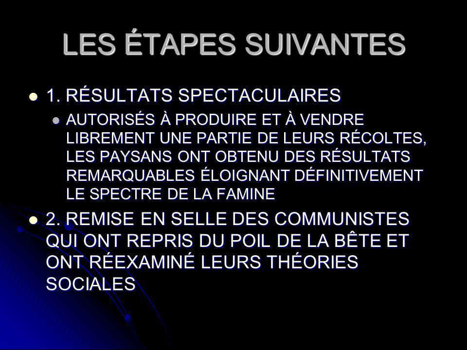 LES ÉTAPES SUIVANTES 1. RÉSULTATS SPECTACULAIRES 1.